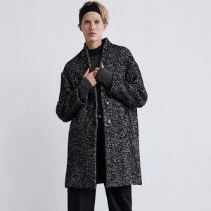 Zara Herringbone Wool Coat in Black/Grey
